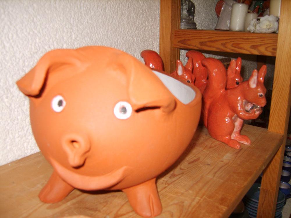 Keramik-Schwein, Keramik-Eichhörnchen